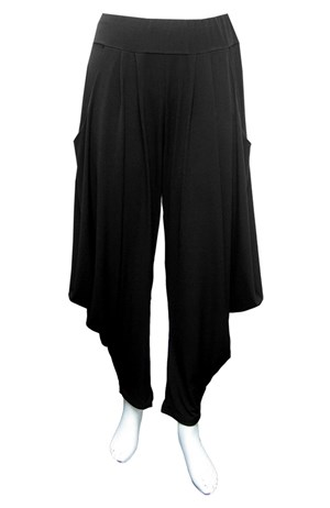 BLACK - Bella soft knit pants with cowl sides