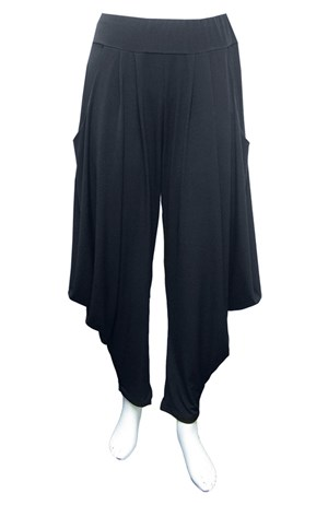 CHARCOAL - Bella soft knit pants with cowl sides