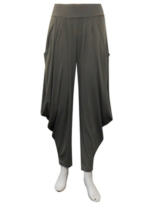 KHAKI - Bella soft knit pants with cowl sides