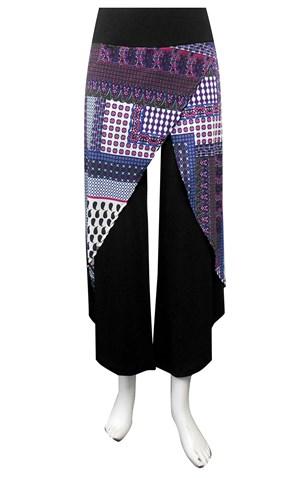 SOLD OUT - PRINT 320 - Soft knit printed skirt front pants