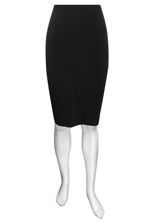 BLACK - Polly knee length soft knit skirt