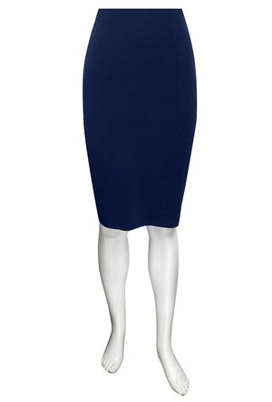 NAVY - Polly knee length soft knit skirt