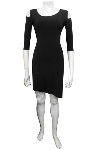 Sandra soft knit dress with asymmetric neckline and hem