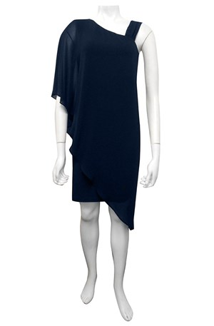 NAVY - Courteney one shoulder chiffon plain overlay dress