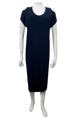NAVY - Donna plain cut out round hem soft knit dress