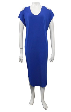 ROYAL - Donna plain cut out round hem soft knit dress