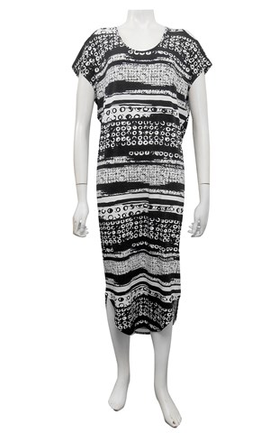 PRINT 527 - Donna cut out round hem dress