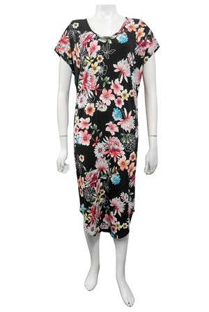 PRINT 561 - Donna cut out round hem dress