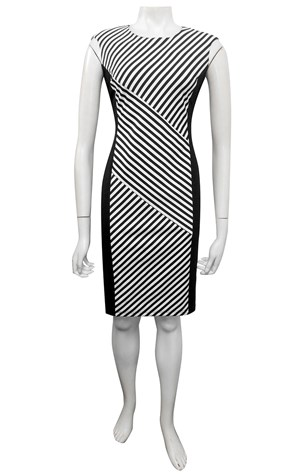 Bianca bias front and back stripe dress