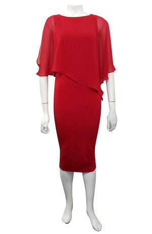 SEX RED - Penny chiffon angle overlay dress