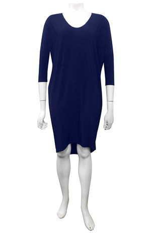 NAVY - Lola plain 3/4 sleeve dress