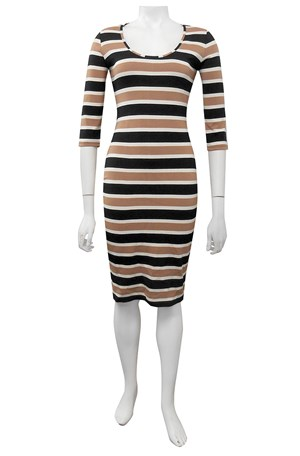 Bowie fitted ponti stripe dress