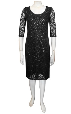 BLACK - Patricia lace dress with elbow length sleeves