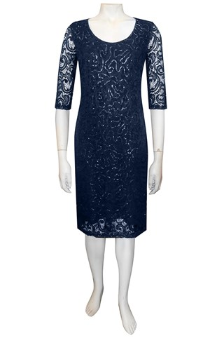 NAVY - Patricia lace dress with elbow length sleeves
