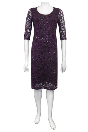 PLUM - Patricia lace dress with elbow length sleeves