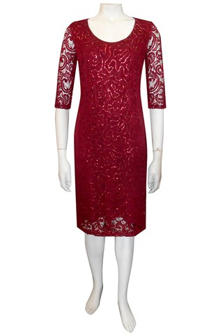 BURGANDY RED - Patricia lace dress with elbow length sleeves