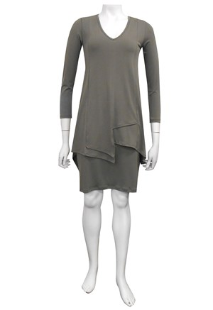 KHAKI - Tiana soft knit overlay dress