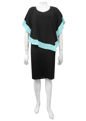 BLACK/MINT - Penelope contrast woven dress