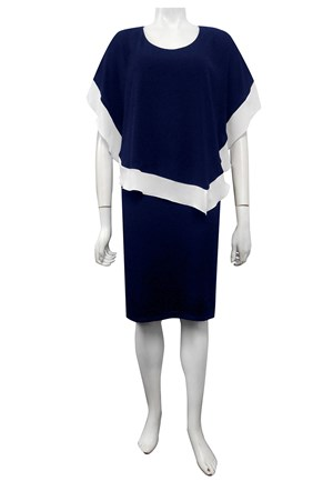 NAVY/WHITE - Penelope contrast woven dress