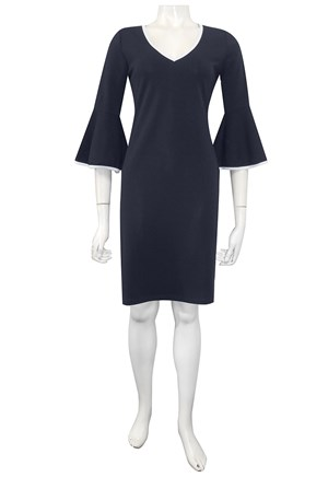 Mary contrast piped dress