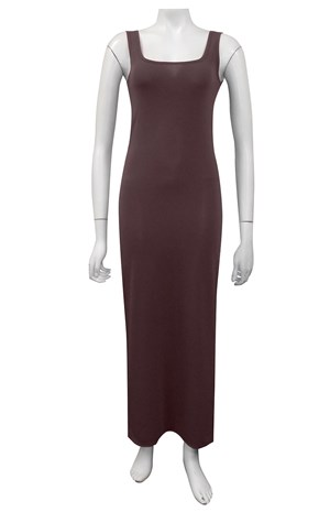 CHOCOLATE - Soft knit thick strap maxi dress
