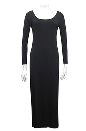 BLACK - Soft knit long sleeve maxi dress