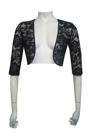 CLICK TO SEE COLOURS AVAILABLE - Lace shrug with georgette binds