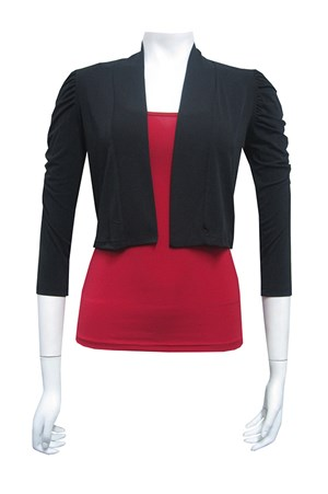 soft knit jacket, ruched shoulders