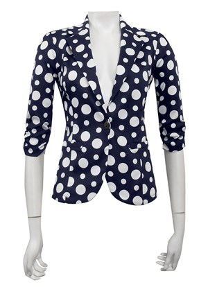 NAVY/WHITE SPOT - Mika printed sateen jacket
