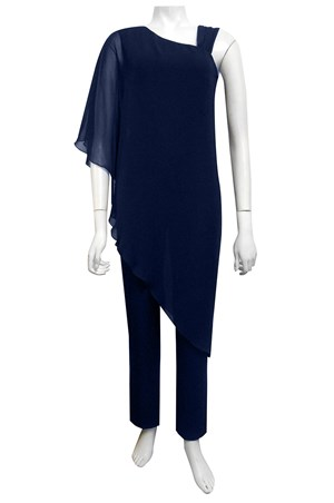 NAVY - Hannah jumpsuit with chiffon overlay