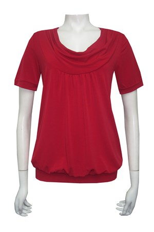 CALL FOR MORE COLOURS - Soft knit cowl neck top with short sleeves