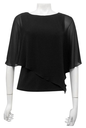 BLACK - Plain chiffon 2 in 1 top