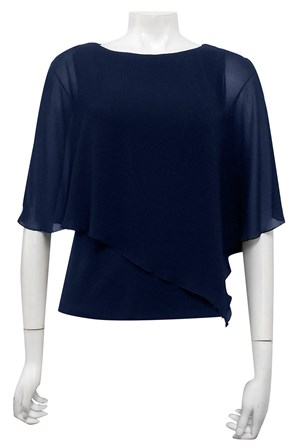 NAVY - Plain chiffon 2 in 1 top