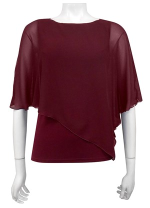 PORT - Plain chiffon 2 in 1 top