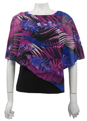 LIMITED STOCK - CHIFFON PRINT 155 - Print chiffon 2 in 1 top with attached soft knit singlet