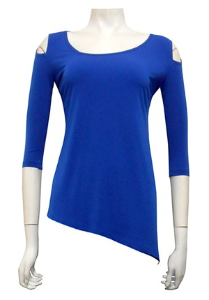 LIMITED STOCK - ROYAL - Selina angled soft knit top