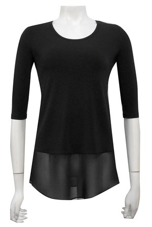 BLACK - Chrissy plain 3/4 sleeve top with contrast hem