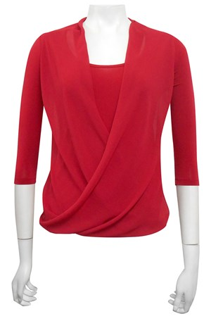 RED - Jemma soft knit and chiffon top