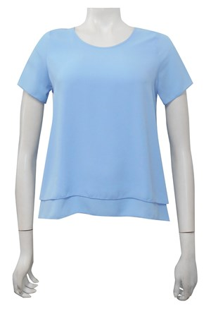 PALE BLUE - Lisa double layer back pleat top