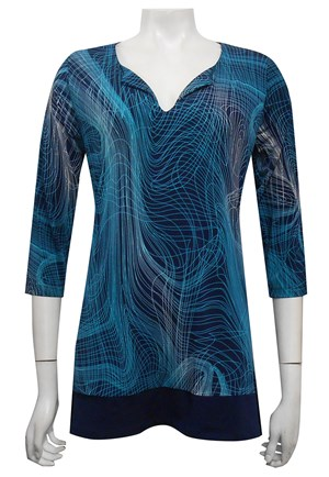 PRINT 504 - Siri tunic top with contrast hem
