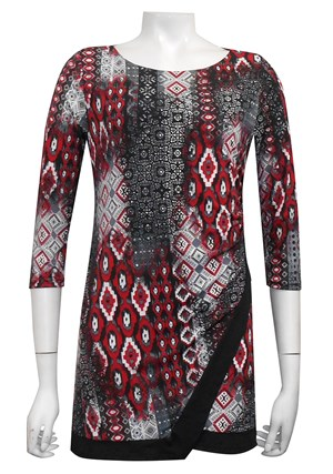 PRINT 453 - Jenny tunic top with contrast panels