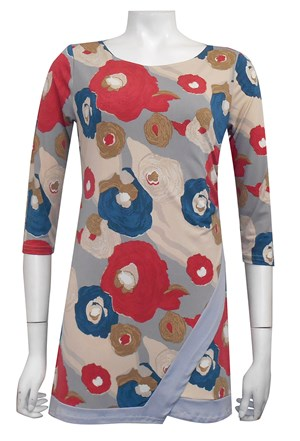 PRINT 478 - Jenny tunic top with contrast panels