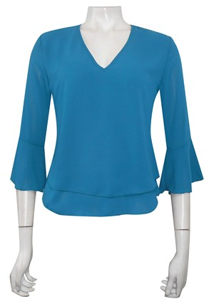 TEAL - Camilla double front V neck top