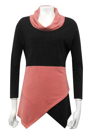 BLACK/ROSE - Mary contrast angle woolly jumper