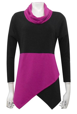 BLACK/FUSCHIA - Mary contrast angle woolly jumper