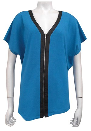TEAL - Louise zip front woolly knit over top