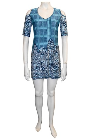 Ann Marie printed tunic with cut out shoulders