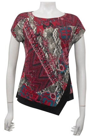 PRINT 247 - Hayley side ruched cap sleeve top