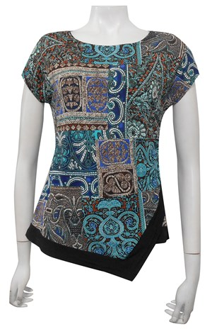 PRINT 366 - Hayley side ruched cap sleeve top