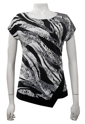 PRINT 376 - Hayley side ruched cap sleeve top